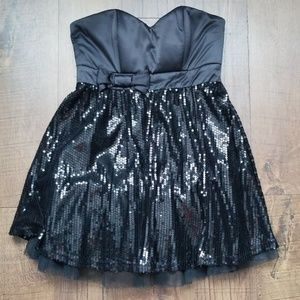 Black Strapless Sequin Cocktail Dress